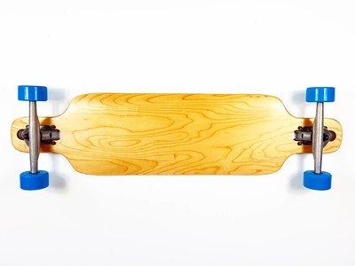 Longboard dropthrough Canadian maple compl. bleu